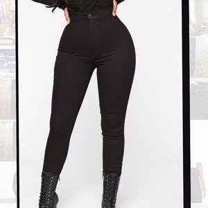Super High Waist Denim Skinnies - Black